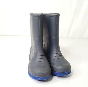 Charcoal & Blue Boy's Rain Boots